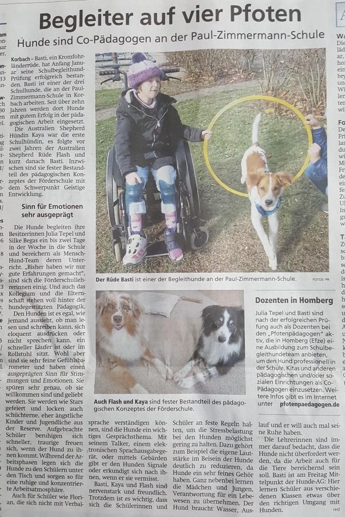 """Basti in der Lokalpresse (Quelle: """"Waldeckische Landeszeitung 30.01.2020)"""