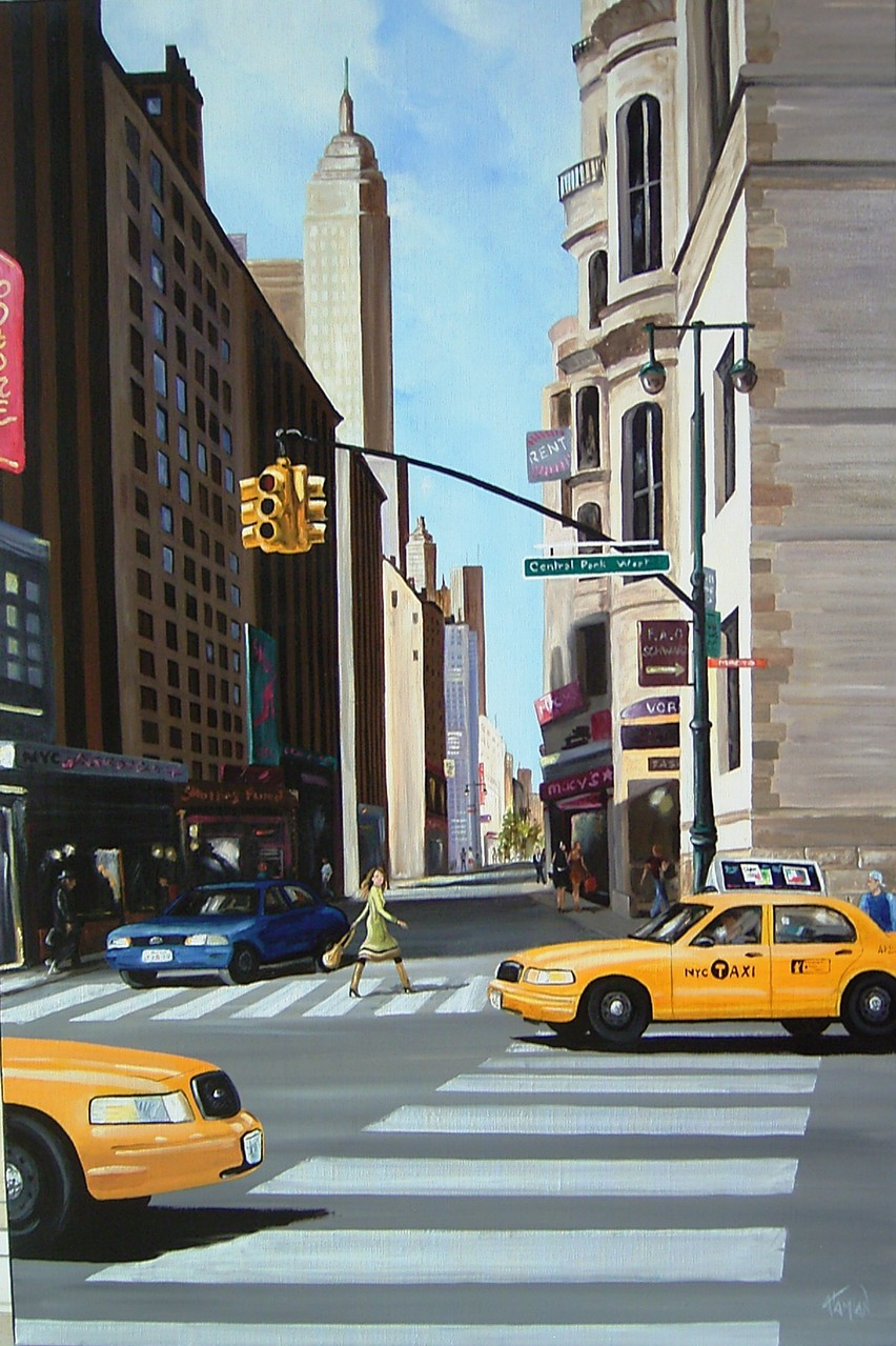 shopping à New-York, huile sur toile