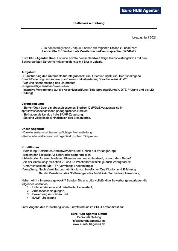 Euro HUB Agentur GmbH - Lehrkräfte für Deutsch als Zweitsprache/Fremdsprache (DaZ/DaF)