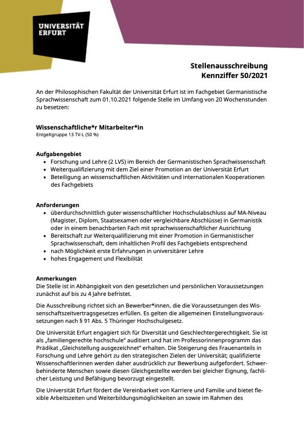 Wissenschaftliche*r Mitarbeiter*in - Qualifikationsstelle in Erfurt