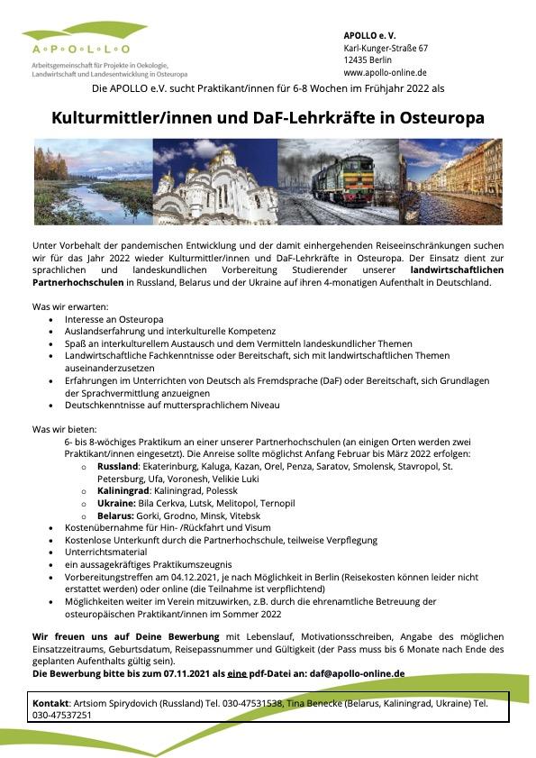 Praktikum als Kulturmittler:innen/DaF-Lehrkräfte in Osteuropa
