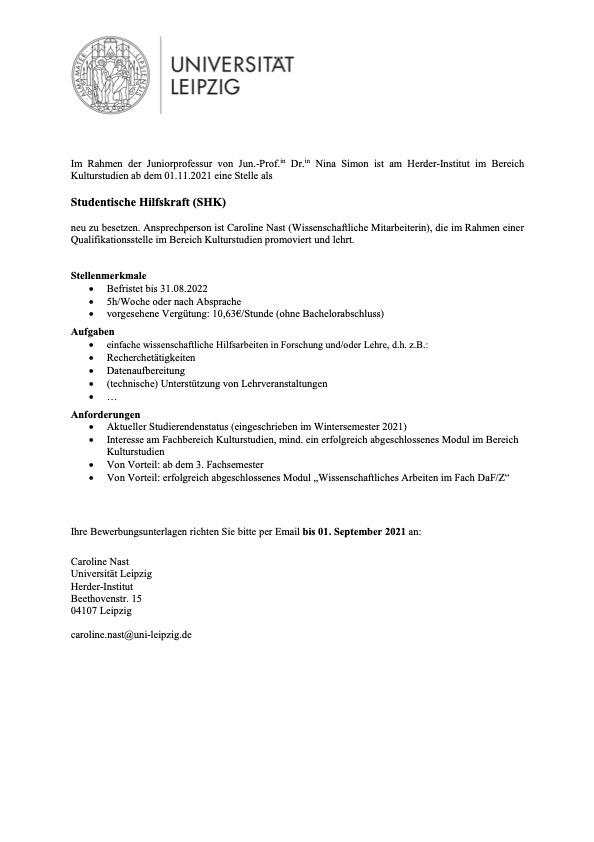 SHK im Bereich Kulturstudien, Herder-Institut
