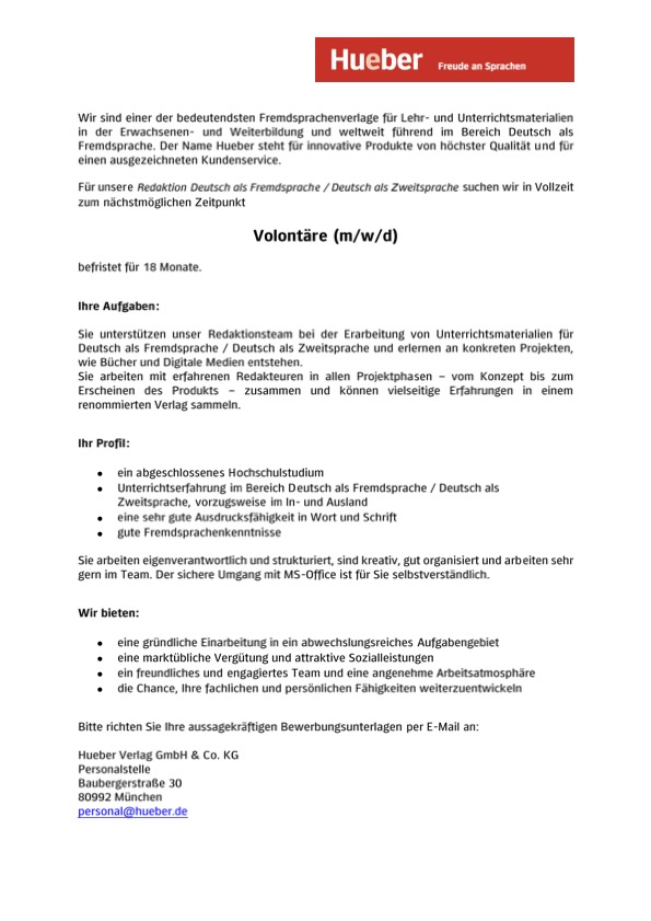 Hueber-Verlag, Volontariat, München