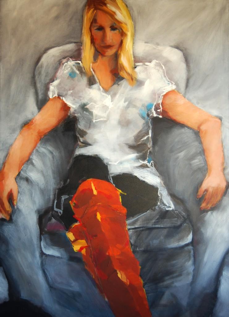 Lady with boots -2012- Acryl / Lw - 140 x 100 cm