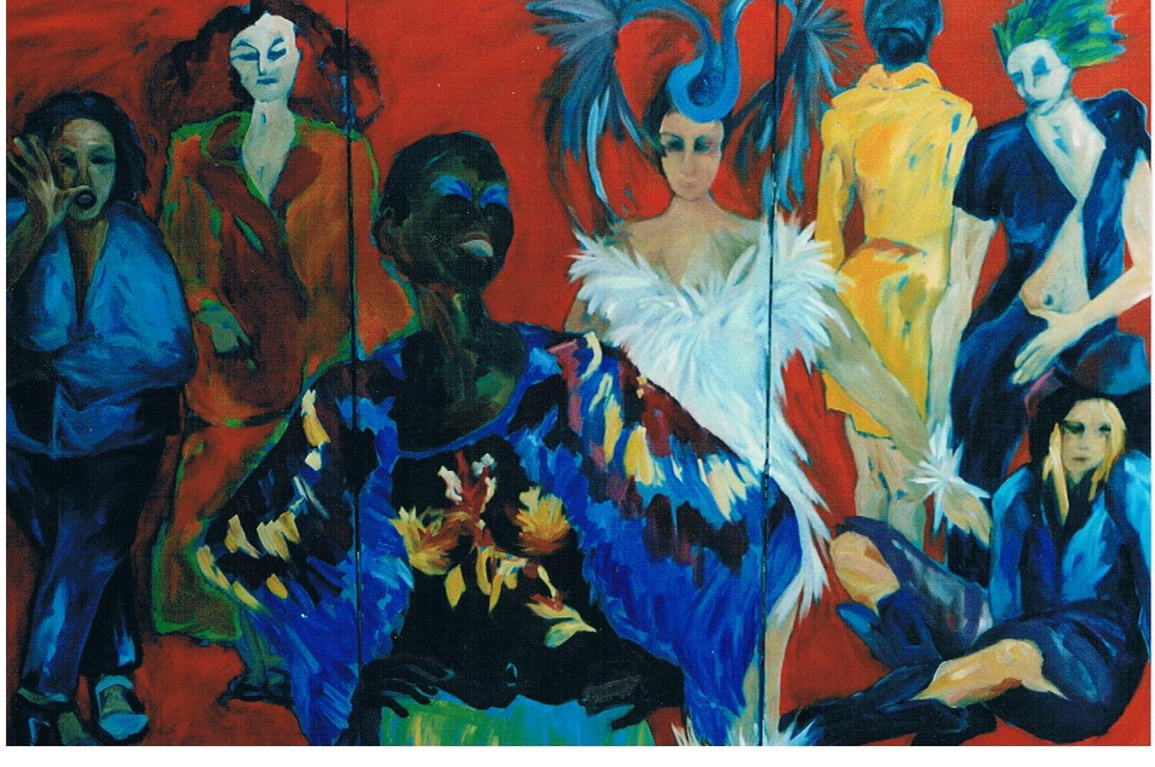 Paradiesvögel - Öl / Lw - dreitlg. 140 x 210 cm