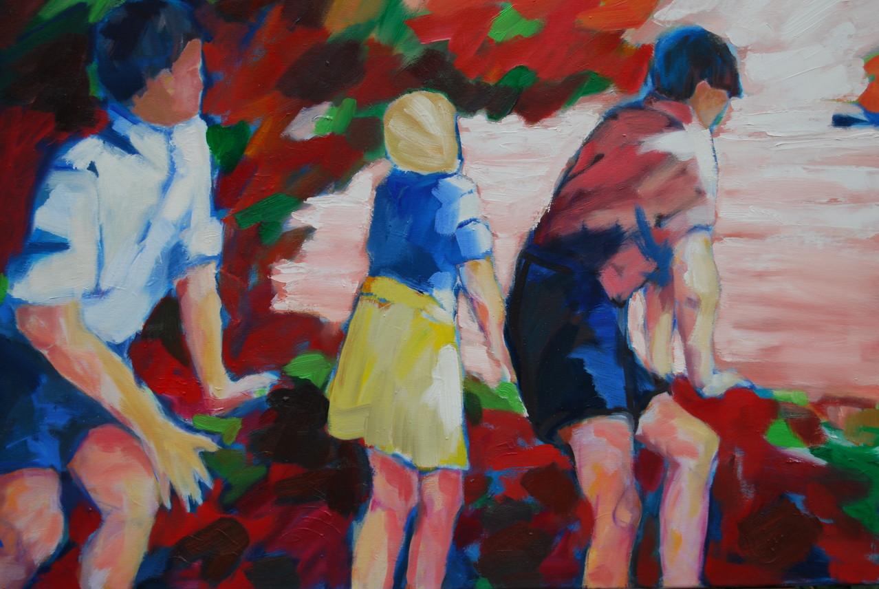 Rosa Ententeich - Öl / Lw - 80 x 100 cm