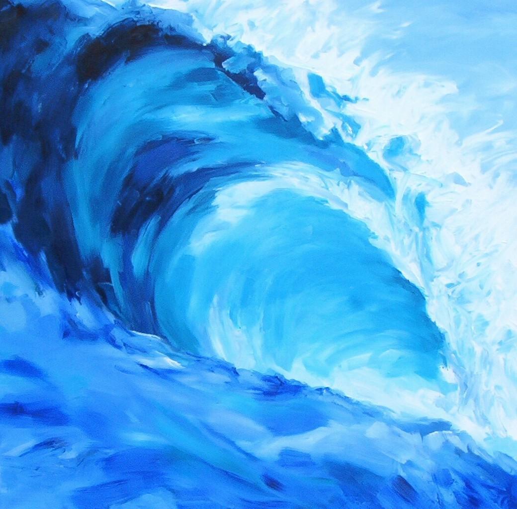 Welle I -Öl / Lw - 100 x 100 cm
