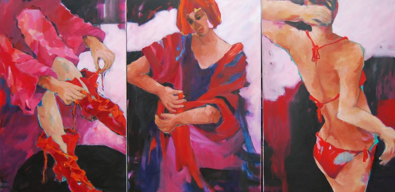 Binden, band, gebunden-2012- - Acryl / Lw -dreitlg. je 120 x 80 cm