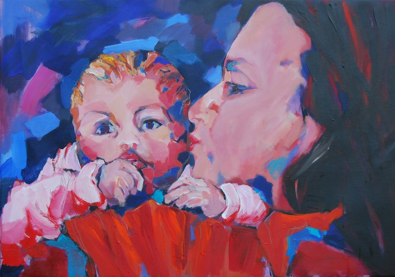 Mutter und Kind - Acryl / Lw - 50 x 71 cm