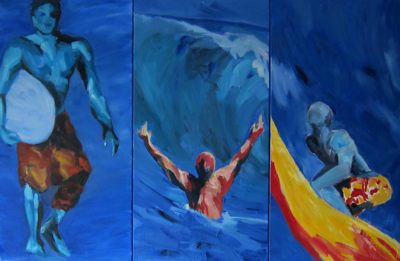 Surfer 4,5,6 - 2002-Öl / Lw - je 100 x 50 cm
