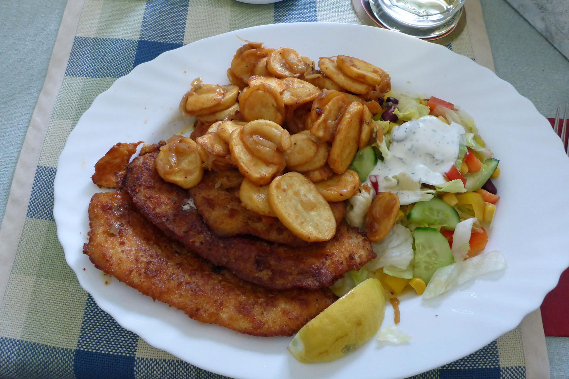 Gut beköstigt und freundlich bedient wurden wir beim Fischer in Altfriesack.