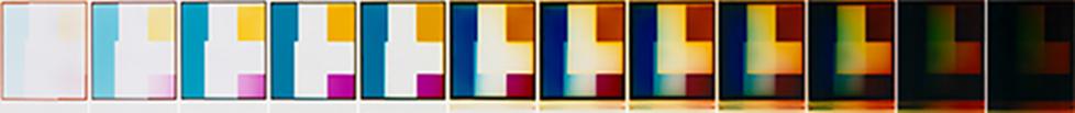 """Victoria Coeln, """"LICHTZEIT I"""", 2000, 12 Fotogramme, Fujicolor Chrystal Archive, Unikate, je 70 x 92 cm, Foto: Courtesy Galerie Renate Bender, München"""