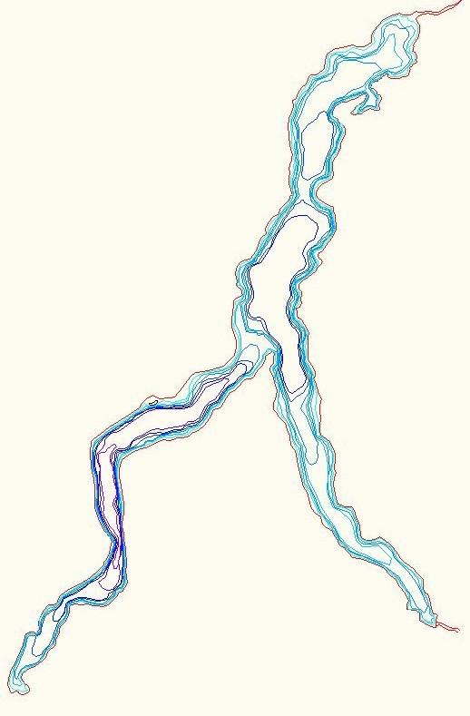 Curve di livello fondali Lago di Como (max - 410 m)