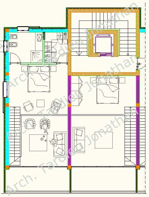 Planimetria piano 2 appartamento duplex - Struttura laterocemento (Scala 1:50)