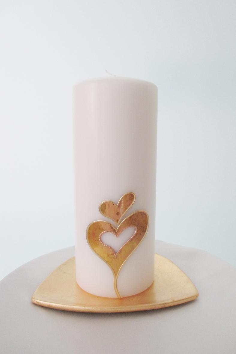 Hochzeitskerze Herzen Gold