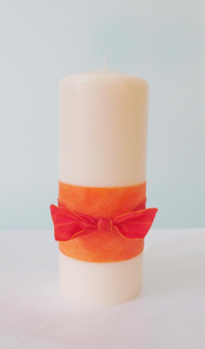 Hochzeitskerze Masche orange