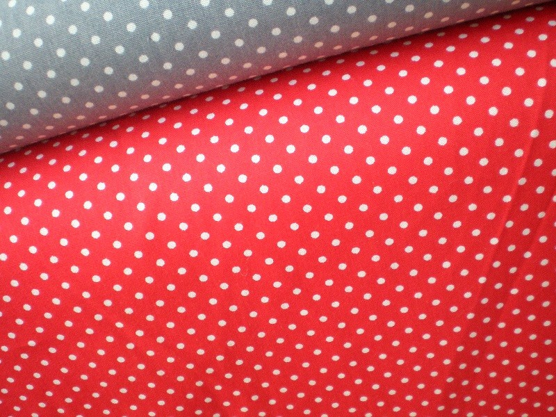 Wieder da: Kleine Pünktchen, BW, 150cm breit, Euro 11,50 Farbe rot und hellgrau