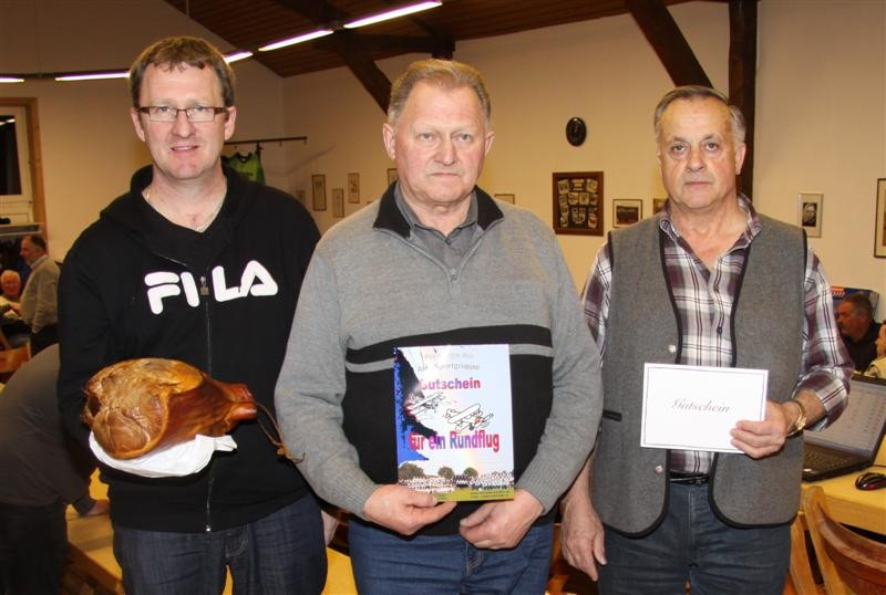 Siegerfoto mit Klaus Hirt, (2.Platz) dem Sieger, Alfred Hirt  und Josef Fleig (3.Platz) (von links)