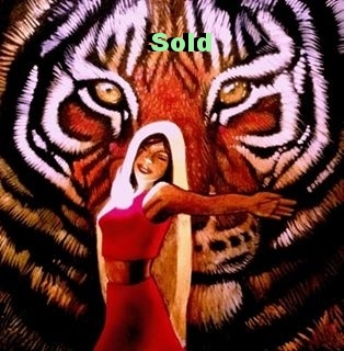 Kali Dances with the Tiger of Compassion / 12 x 12 / Acrylic on Panel / $1,500