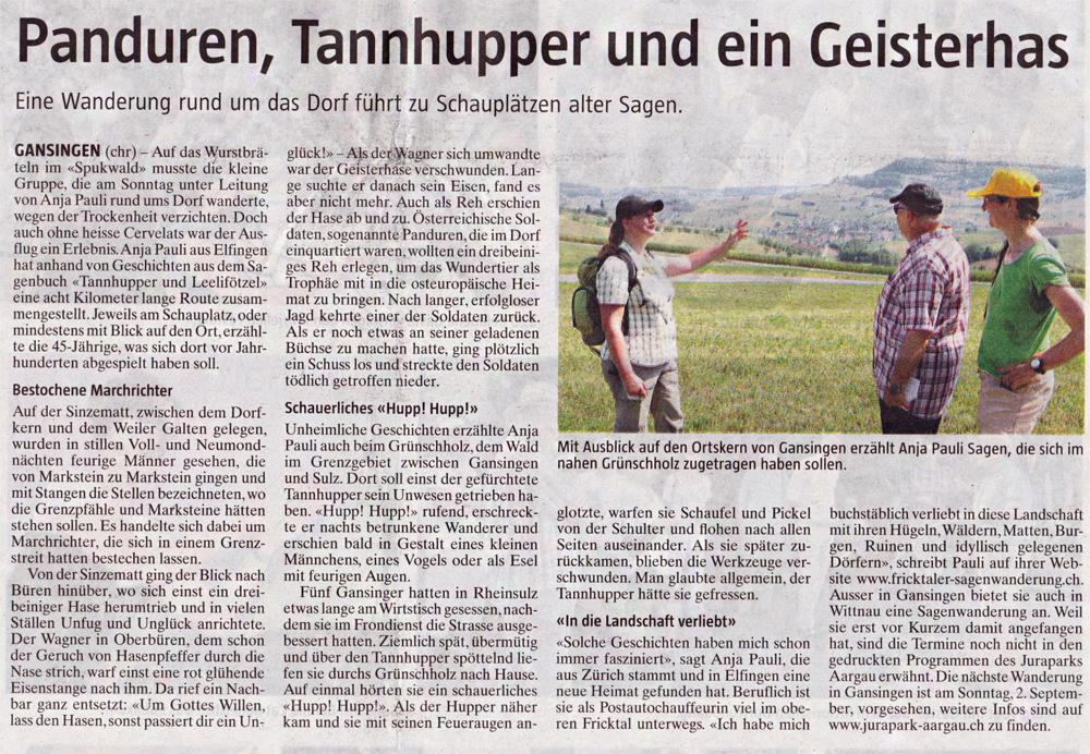 """""""Die Botschaft"""" Zeitung für das Zurzibiet vom 06.August 2018"""