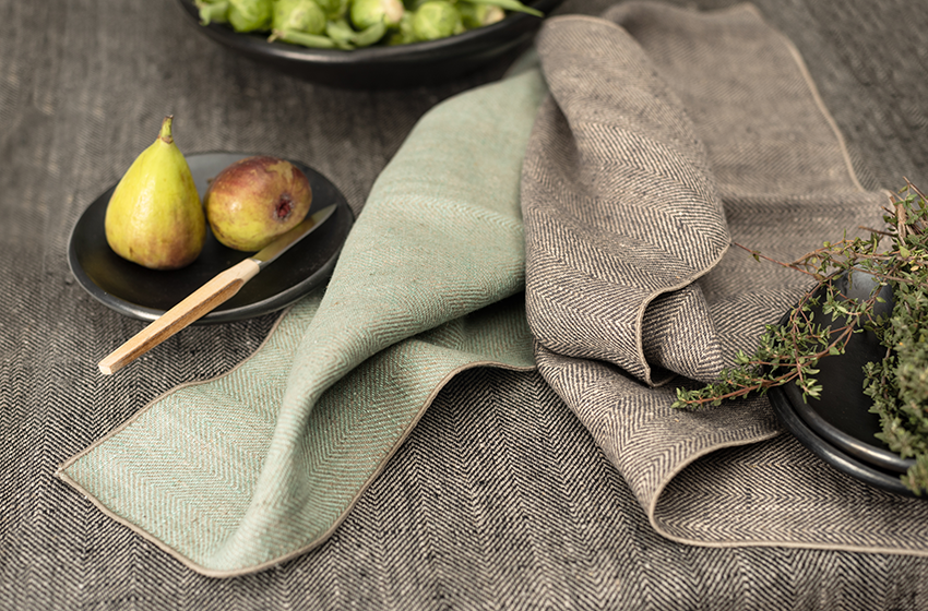 Leinentuch mit Fischgrat Muster, klassische Handtücher, Geschirrtücher mit Fischgrät Muster