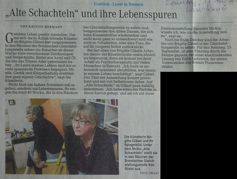 """Pressebericht Ausstellung """"Alte Schachteln"""" - Weser Kurier 11. August 2013"""