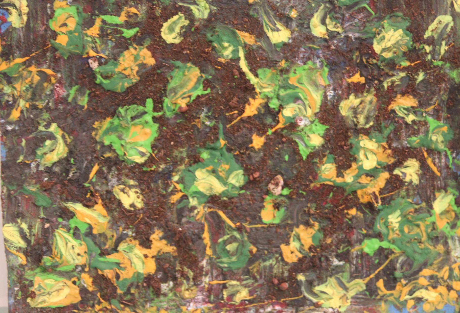 Cosmosblüten, Acryl und Erde auf Hartfaser