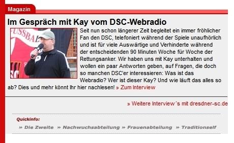 Ankündigung auf der Homepage des Dresdner SC 1898 (28.03.2012)