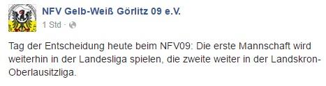 Auf Facebook gab Görlitz die Nachricht bekannt.