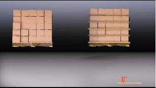 パレットに段ボール箱を積んだ画像1 左はパレットにそのまま箱を積んだ荷物、右はグリップシートを使用した荷物