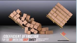 パレットに段ボール箱を積んだ画像4 パレットをさらに傾けると左は荷物が崩れ落ちる、右はグリップシートにより荷物は動かず崩れない