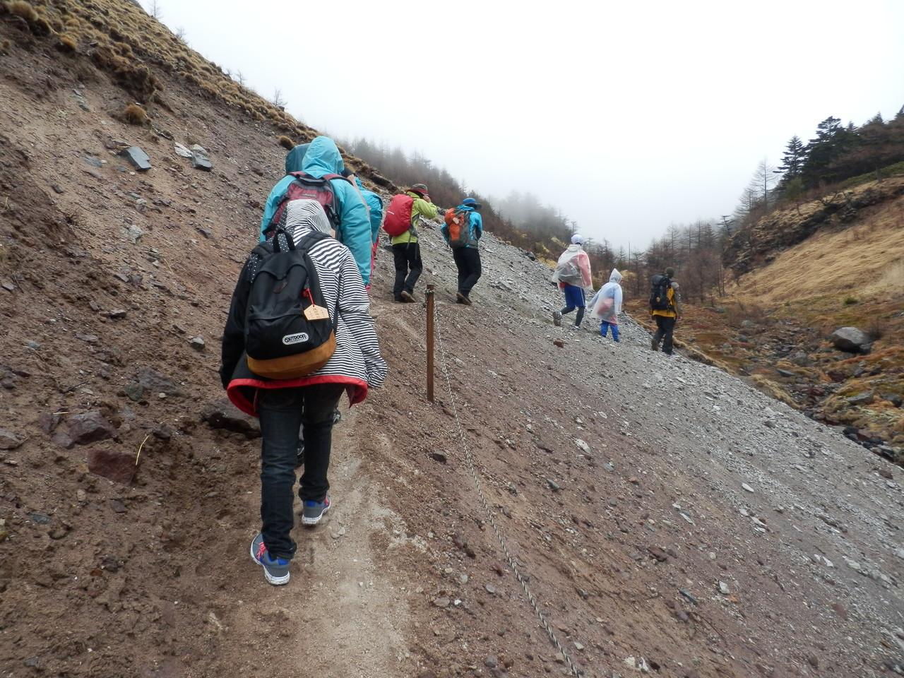 湯の平 火山館手前のゾレ場を登る