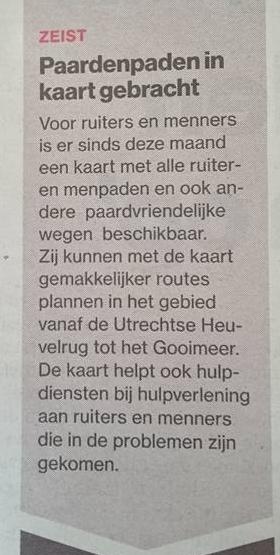 Klein stukje in het Algemeen Dagblad, Regiokatern Utrecht, 2016