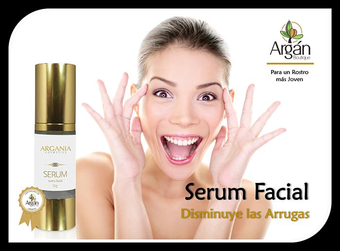 Serum Facial. Disminuye las Arrugas. Auxilia y reconstruye. Penetra en la piel para regenerarla y mantenerla sana, mejora los niveles óptimos de hidratación, fija el agua en la piel y previene los signos de envejecimiento.