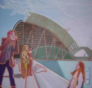 Un dia en el museo 120 x 120 Acrilico sobre tabla