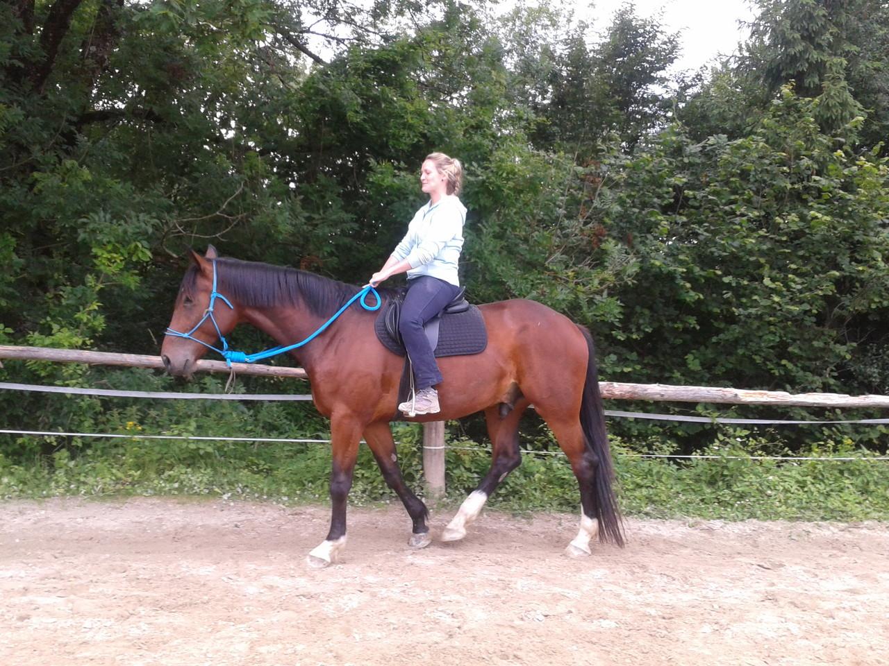 Sabine - zweites Mal auf dem Rücken ihres jungen Pferdes Dario! Aufregend!