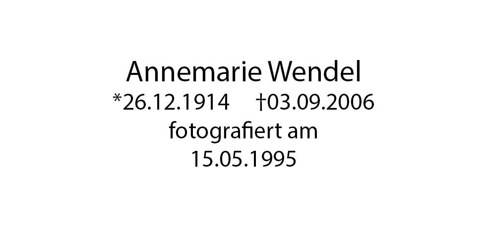 Annemaire Wendel foto organico Picture Bild Krackhardt Christof Menschen des veröffentlichten Lebens Geburt Birth Datum