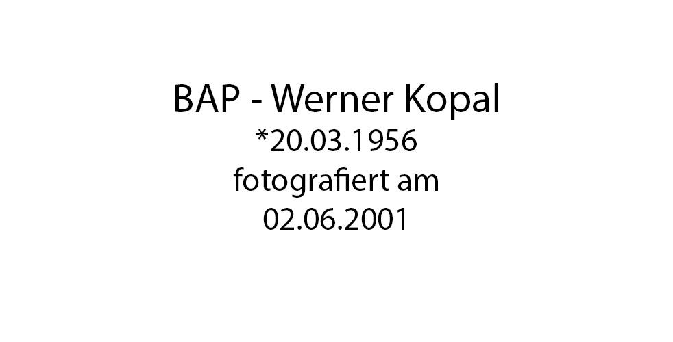 BAP Werner Kopal Portrait foto organico Picture Bild Krackhardt Christof Menschen des veröffentlichten Lebens Geburt Birth Datum