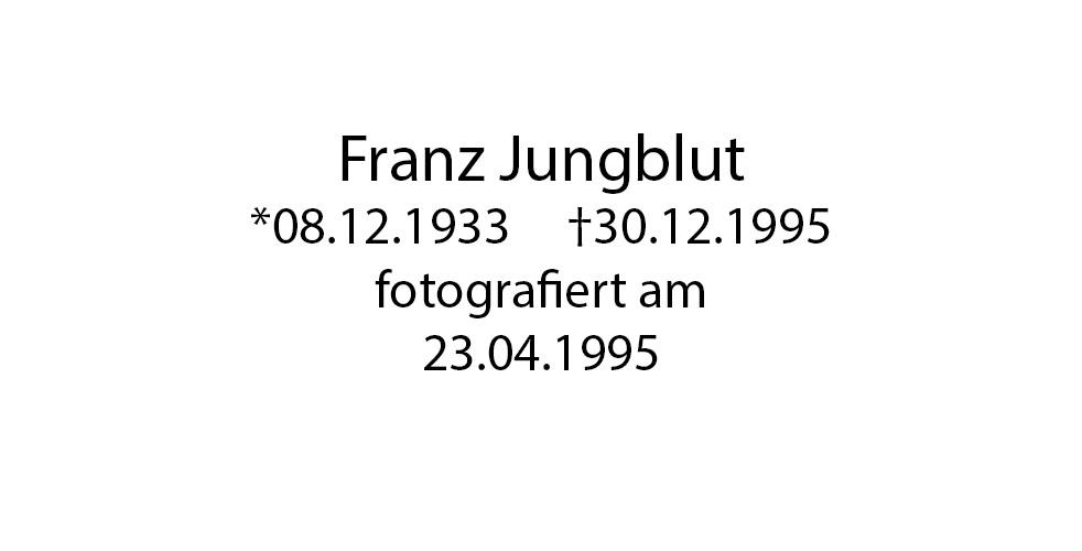 Franz Jungblut Portrait foto organico Picture Bild Krackhardt Christof Menschen des veröffentlichten Lebens Geburt Birth Datum