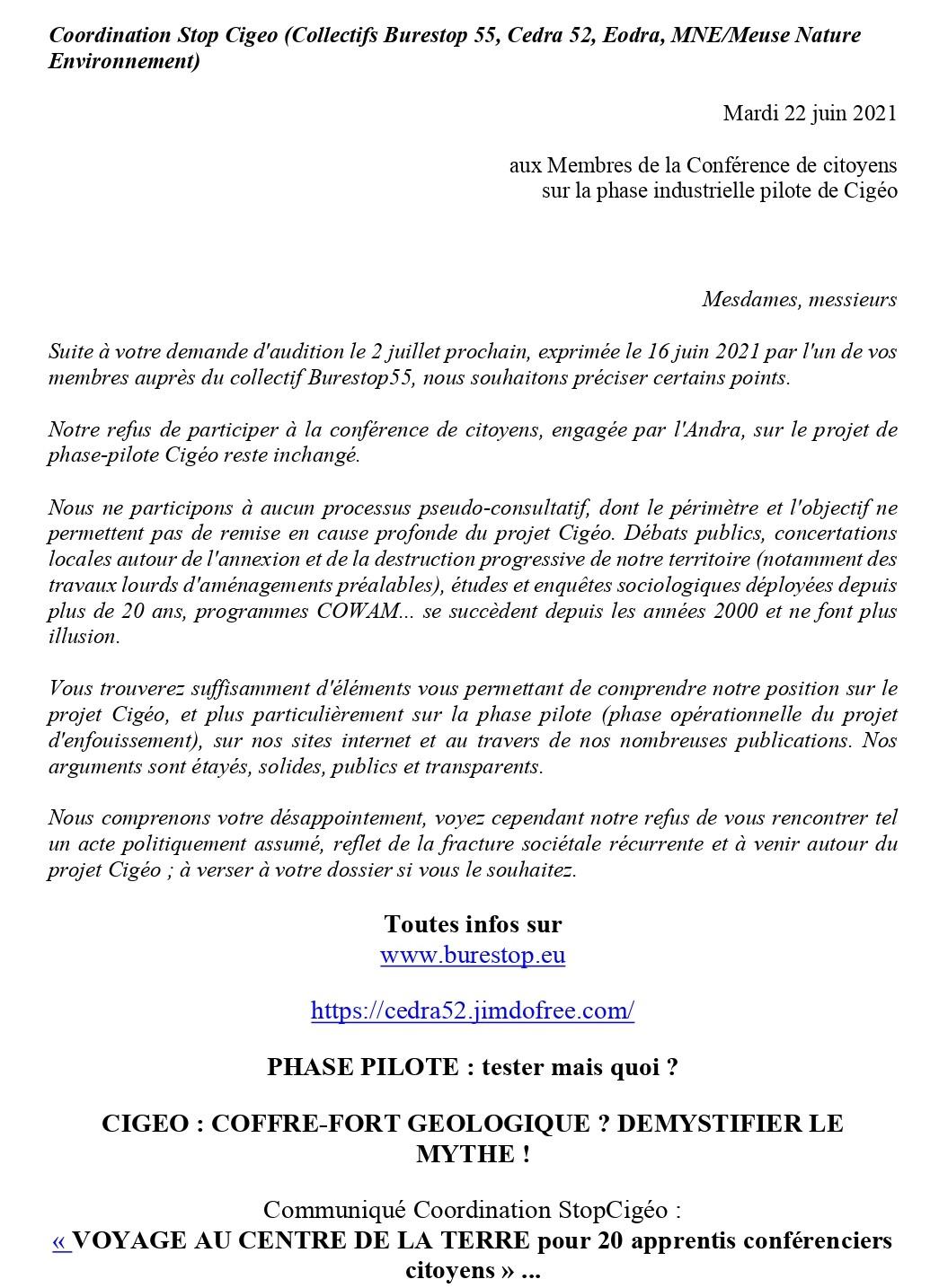 Communiqué Stop Cigéo : Conférence citioyenne en cours, pourquoi nous n'y participons pas