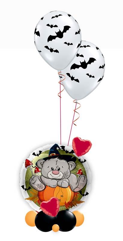 Ballon Luftballon Heliumballon Deko Dekoration Überraschung Mitbringsel Ballonpost Ballongruß Versand verschicken Helium Mädchen Junge  Halloween mit Namen personalisiert Personalisierung Geschenk Idee Ballonpost süßer Teddy Bär Herz Fledermaus