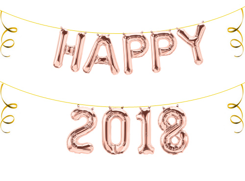 Happy 2018 Folienballon Buchstaben Silvester Party