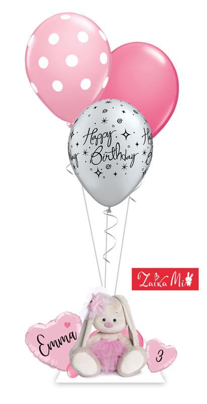 Plüschtier Hase Häschen kuschelweich super soft weich flauschig Zaika Mi Budi Basa Original Geschenk Baby Kind Mädchen Mitbringsel Idee Überraschung Versand Ballon Luftballon Ballongeschenk personalisiert mit Namen Alter Zahl Happy Birthday Geburtstag