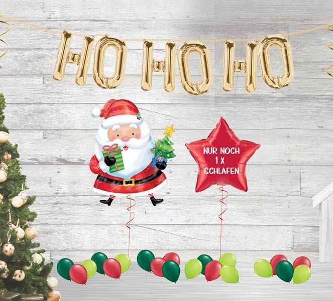 Weihnachtsfest Weihnachten Luftballon Ballon folienballon Ballonbuchstaben Buchstaben Paket Weihnachtsmann Nikolaus Stern nur noch 1 x schlafen ho ho ho Schriftzug gold rot fertig aufgeblasen befüllt verschickt