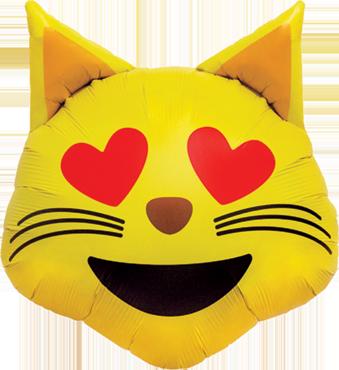 Emoji  Luftballon Ballon Folienballon Heliumballon Cat Heart Eyes