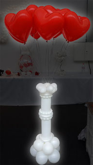 Luftballon Ballon Herzen Latexherzen Säule Bouquet Dekoration Hochzeit Location Ballonweitflug rot Helium