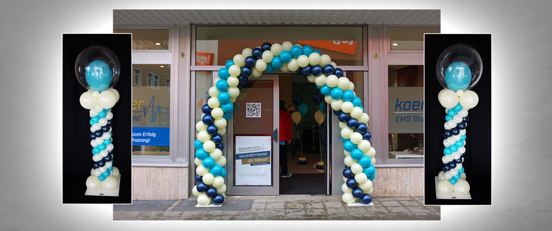 Luftballon-Dekoration Neueröffnung EMS-Studio (Fitness-Studio)
