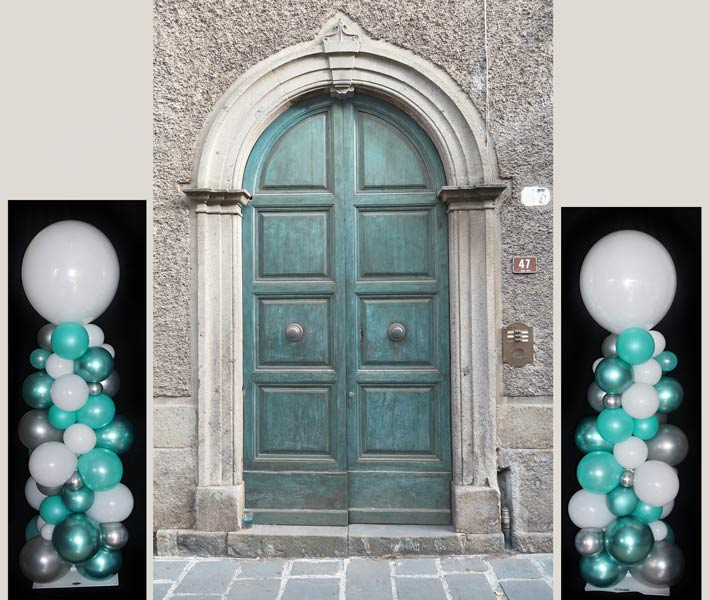 Luftballon Ballon Säule Deko Dekoration Hochzeit Firma Firmenevent Event Bubble Organic-Style Girlande Stab Eingang Portal Begrüßung bunt elegant