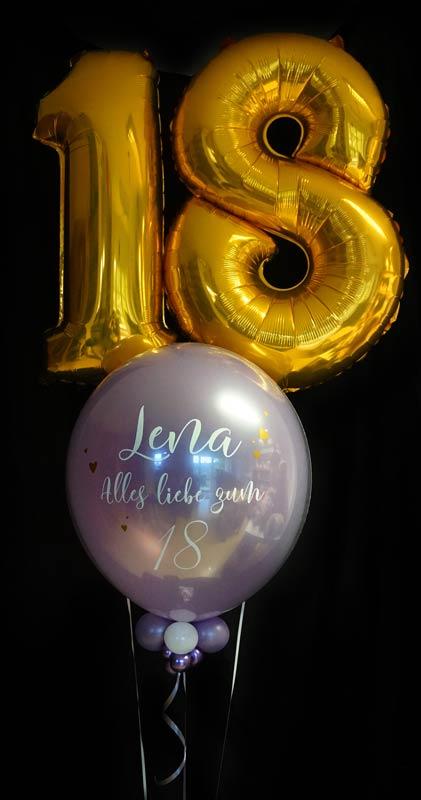 Bubble Ballon Luftballon Geschenk beschriftet durchsichtig Feder Helium runder Geburtstag 40 50 60 70 80 90 Heliumballon personalisiert individuell Namen Versand Wunschbubble Herz Baby Geburt endlich da Mädchen Junge  Frau Mann Mitbringsel lila 18