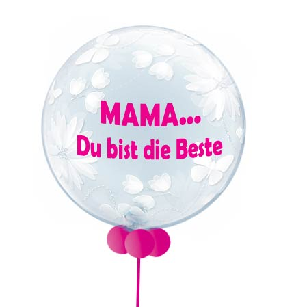 Ballon Luftballon Folienballon Bubble Mama du bist die Beste Muttertag Valentinstag Geburtstag Mutter beschriftet Beschriftung personalisiert Personalisierung mit Name Alles Liebe Ich hab dich lieb Versand